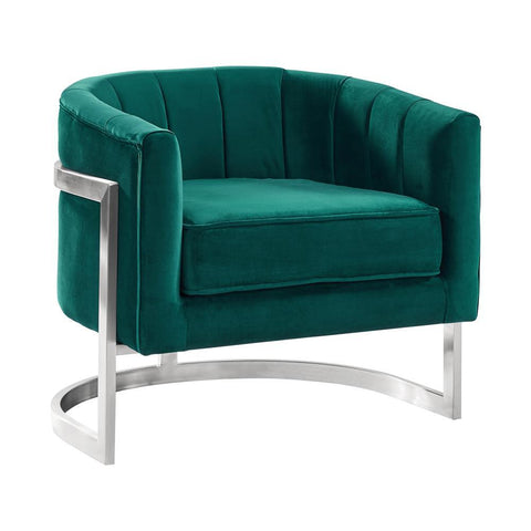 Armen Living Kamila Contemporary Accent Chair in Green Velvet & Brushed Stainless Steel