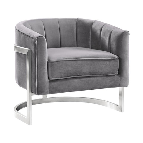 Armen Living Kamila Contemporary Accent Chair in Grey Velvet & Brushed Stainless Steel