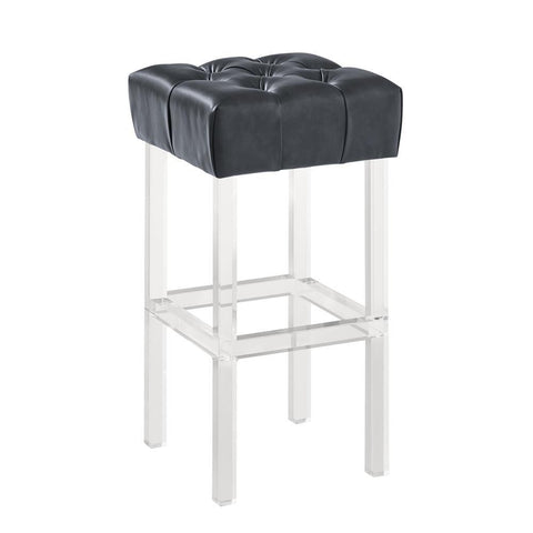 Armen Living Kara Contemporary Barstool in Grey Faux Leather w/Acrylic Legs