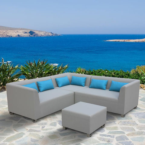 Armen Living Lagoon 4 Piece Outdoor Textilene Sectional Set in Taupe w/Sky Blue Accent Pillows
