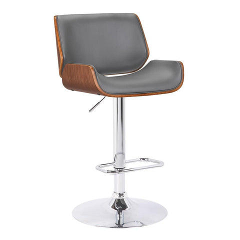 Armen Living London Contemporary Swivel Barstool in Grey Faux Leather w/Chrome & Walnut Wood