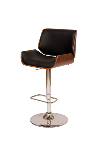 Armen London Swivel Barstool In Black PU/ Walnut Veneer and Chrome Base