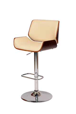 Armen London Swivel Barstool In Cream PU/ Walnut Veneer and Chrome Base