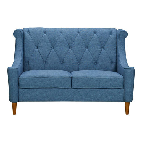 Armen Living Luxe Mid-Century Loveseat in Champagne Wood & Blue Fabric
