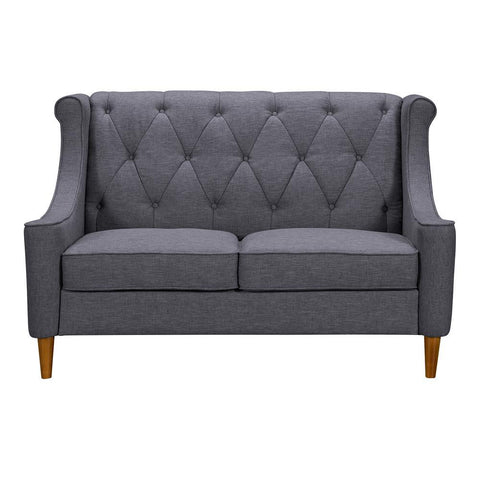 Armen Living Luxe Mid-Century Loveseat in Champagne Wood & Dark Grey Fabric