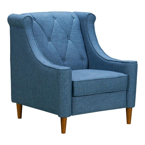 Armen Living Luxe Mid-Century Sofa Chair in Champagne Wood & Blue Fabric