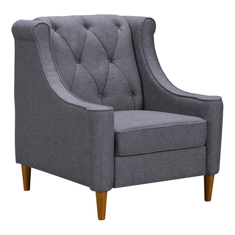 Armen Living Luxe Mid-Century Sofa Chair in Champagne Wood & Dark Grey Fabric