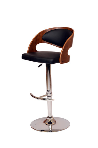 Armen Malibu Swivel Barstool In Black PU/ Walnut Veneer and Chrome Base