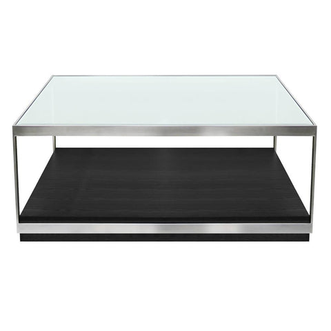 Armen Living Manchester Contemporary Coffee Table w/Polished Stainless Steel & Glass Top