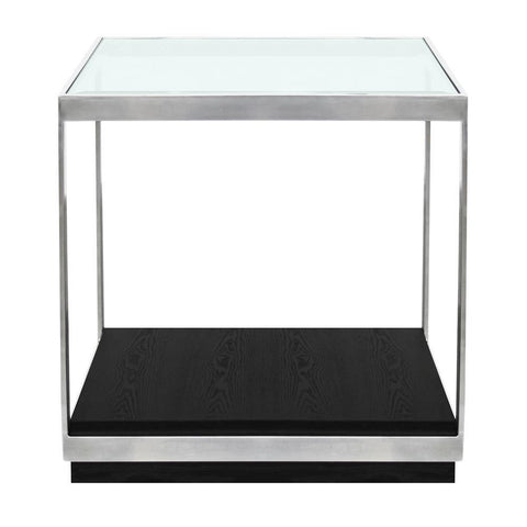 Armen Living Manchester Contemporary End Table w/Polished Stainless Steel & Glass Top