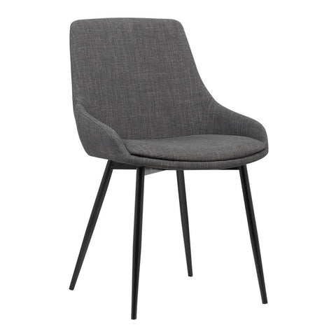 Armen Living Mia Contemporary Dining Chair in Charcoal Fabric w/Black Powder Coated Metal Legs