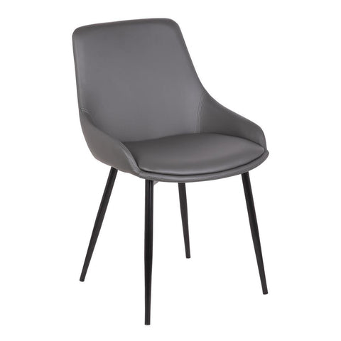 Armen Living Mia Contemporary Dining Chair in Gray Faux Leather w/Black Powder Coated Metal Legs