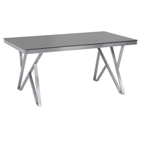 Armen Living Mirage Contemporary Dining Table in Brushed Stainless Steel & Gray Tempered Glass Top