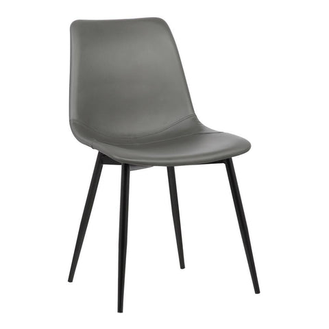 Armen Living Monte Contemporary Dining Chair in Gray Faux Leather w/Black Powder Coated Metal Legs