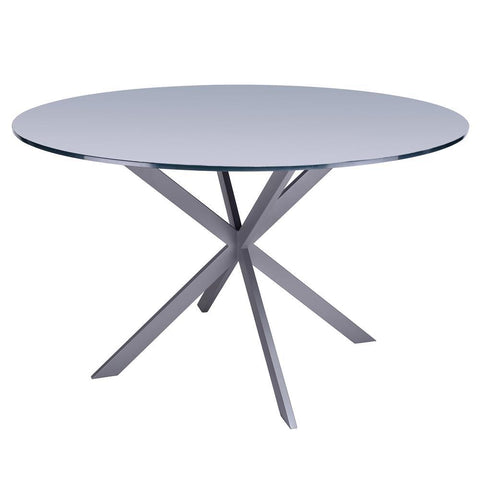 Armen Living Mystere Modern Dining Table in Grey Powder Coated w/Grey Tempered Glass Top