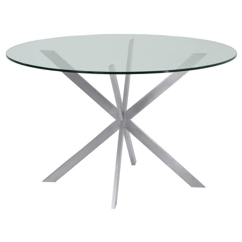 Armen Living Mystere Round Dining Table in Brushed Stainless Steel w/Clear Tempered Glass Top