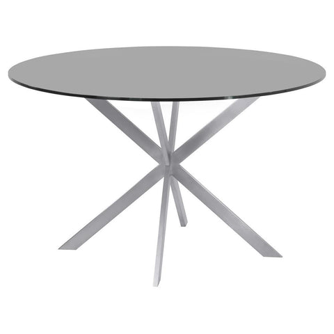 Armen Living Mystere Round Dining Table in Brushed Stainless Steel w/Gray Tempered Glass Top