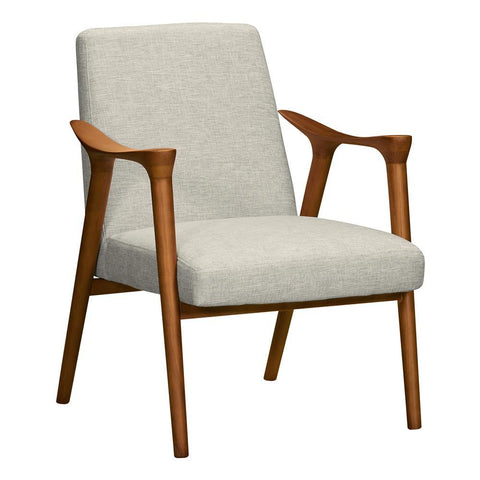 Armen Living Nathan Mid-Century Accent Chair in Champagne Ash Wood & Beige Fabric