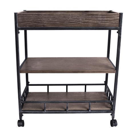Armen Living Niles Industrial Kitchen Cart in Industrial Grey & Pine Wood