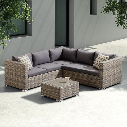 Armen Living Nina 3 Piece Outdoor Rattan Sectional Set w/Dark Brown Cushions & Modern Accent Pillows