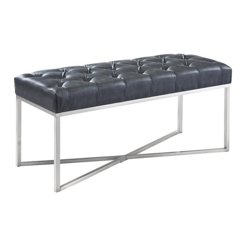 Armen Living Noel Contemporary Bench in Grey Faux Leather & Brushed Stainless Steel