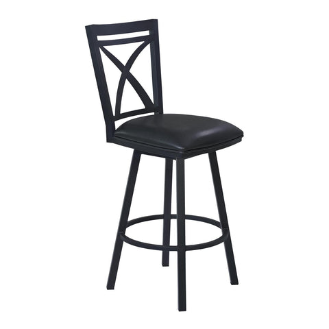 Armen Living Nova Metal Swivel Barstool in Ford Black & Black
