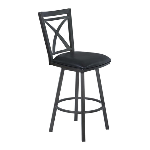 Armen Living Nova Metal Swivel Barstool in Ford Black & Mineral