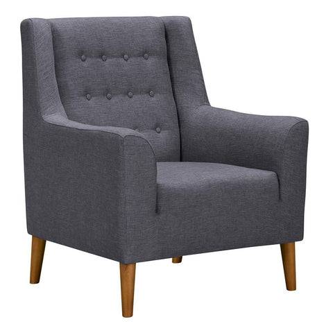 Armen Living Nubia Mid-Century Accent Chair in Champagne Wood & Dark Grey Fabric