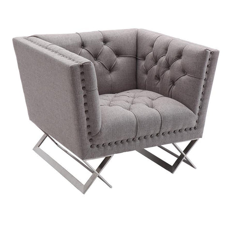 Armen Living Odyssey Sofa Chair in Brushed Steel finish with Grey Tweed upholstery and Black Nail heads