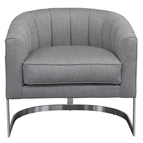 Armen Living Paloma Contemporary Accent Chair in Brushed Stainless Steel w/Grey Fabric