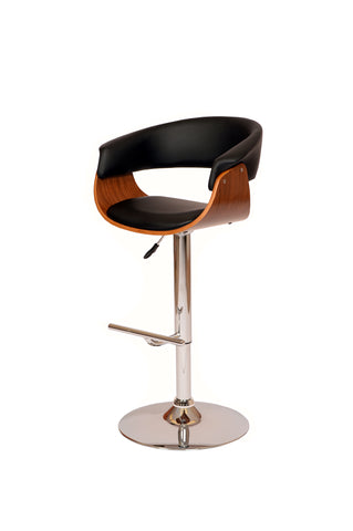 Armen Paris Swivel Barstool In Black PU/ Walnut Veneer and Chrome Base