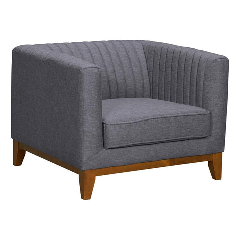 Armen Living Prism Mid-Century Sofa Chair in Champagne Wood Finish & Dark Grey Fabric