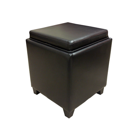 Armen Living Rainbow Contemporary Storage Ottoman With Tray in Brown Bonded Leather