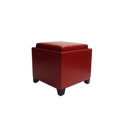 Armen Living Rainbow Contemporary Storage Ottoman With Tray in Red Bonded Leather