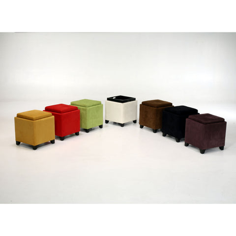 Armen Living Rainbow Microfiber Storage Ottoman in Yellow Microfiber