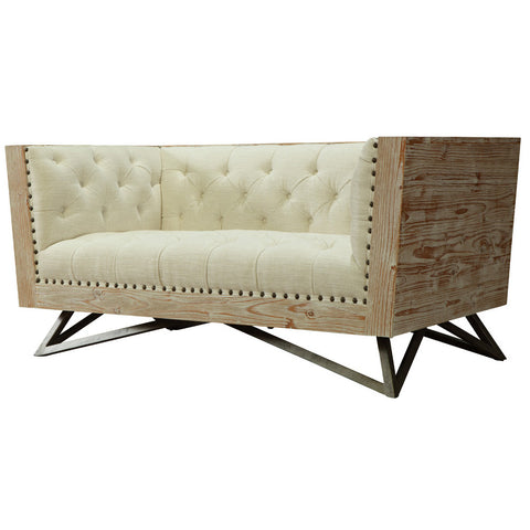 Armen Regis Cream Loveseat With Pine Frame And Gunmetal Legs