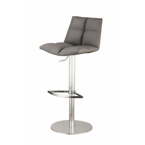 Armen Roma Adjustable Brushed Stainless Steel Barstool in Gray Pu