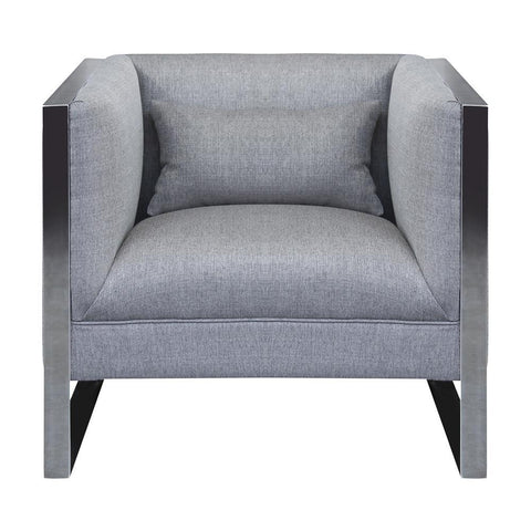 Armen Living Royce Contemporary Chair w/Polished Stainless Steel & Grey Fabric