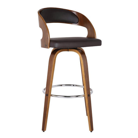 "Armen Living Shelly 30"" Barstool in Walnut Wood Finish with Brown PU"
