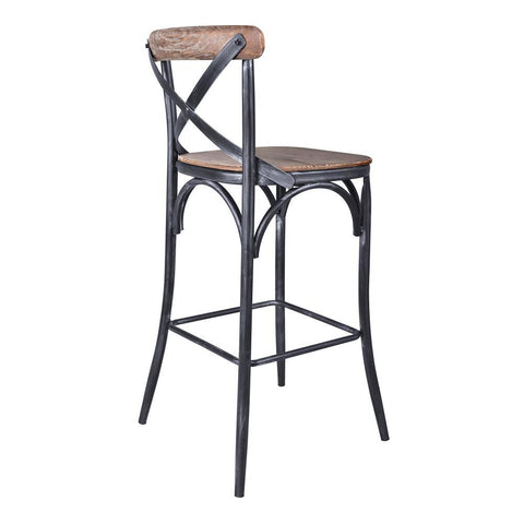 Armen Living Sloan Industrial 30 Inch Bar Height Barstool in Industrial Grey & Pine Wood