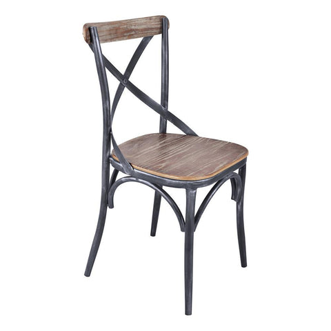 Armen Living Sloan Industrial Dining Chair in Industrial Grey & Pine Wood - Set of 2