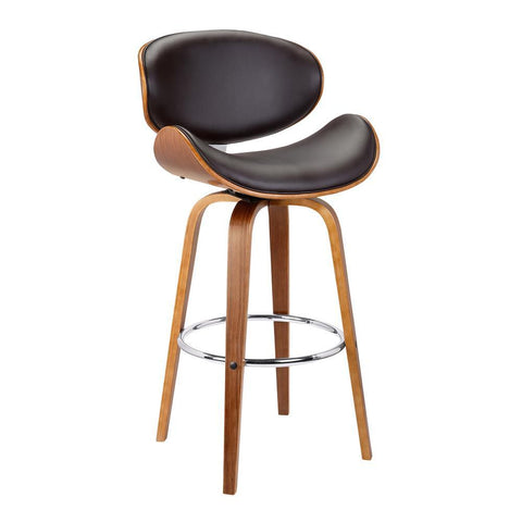 Armen Living Solvang Mid-Century Swivel Barstool in Brown Faux Leather w/Walnut Wood