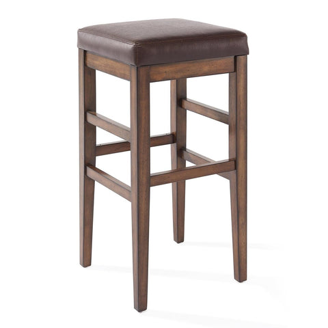 Armen Living Sonata Wood Backless Barstool in Chestnut & Kahlua