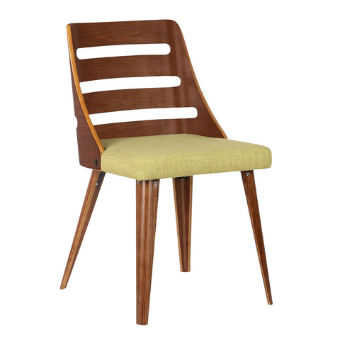 Armen Living Storm Mid-Century Dining Chair in Walnut & Green