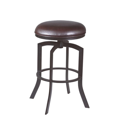 "Armen Living Studio 30"" Barstool in Auburn Bay finish with Brown Pu upholstery"