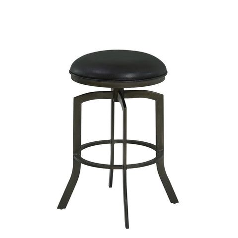 Armen Living Studio Metal Swivel Barstool in Ford Black & Mineral