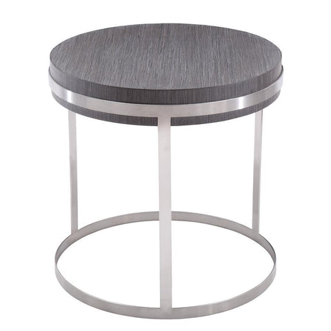 Armen Living Sunset End Table in Brushed Steel finish with Grey Top