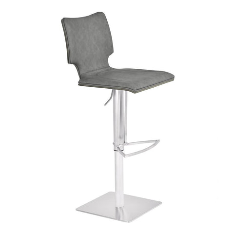 Armen Living Sydney Adjustable Barstool in Brushed Stainless Steel w/Vintage Grey Faux Leather & Grey Walnut Wood Back