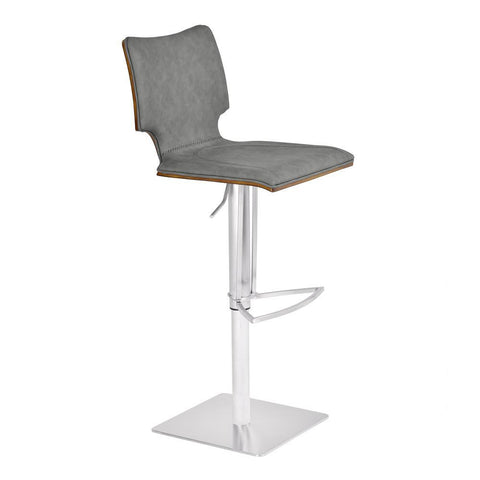 Armen Living Sydney Adjustable Barstool in Brushed Stainless Steel w/Vintage Grey Faux Leather & Walnut Wood Back