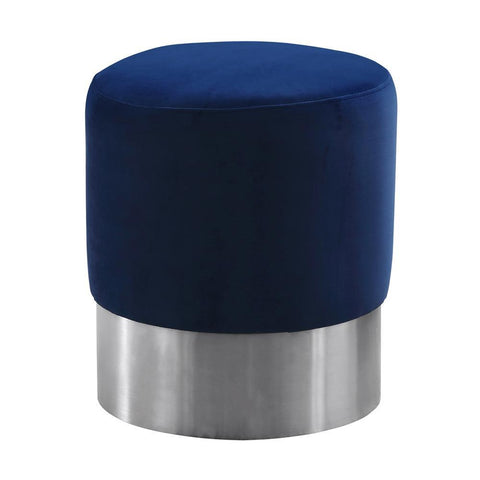 Armen Living Tabitha Contemporary Round Ottoman in Brushed Stainless Steel w/Blue Velvet